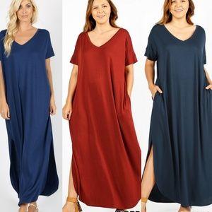 Comfy, V-Neck Maxi Dress
